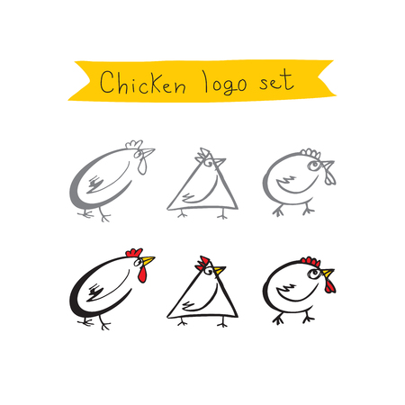 roost: Chicken logo set icons.