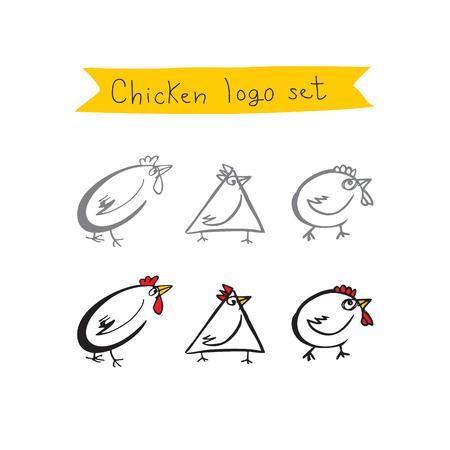 gallo: Logo pollo fijó iconos.