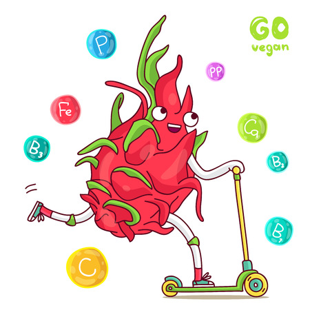 dragon fruit: Cute and funny dragon fruit rides a scooter. illustration on white background.