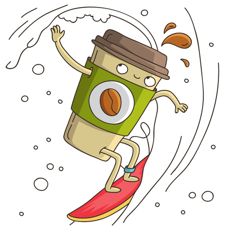 Cute and cheerful cup of coffee surf. illustration on white background.