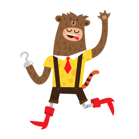 red boots: A man in a bear suit, red boots and a tiger tail. illustration on white background Illustration