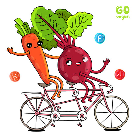 beets: Cute and funny carrots and beets on a bike ride. illustration on white background Illustration