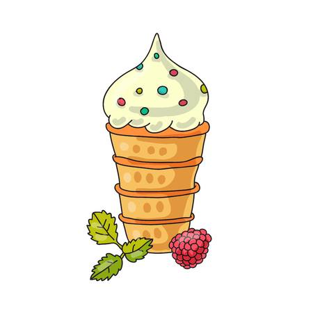 mint: Vanilla ice-cream cone with raspberry and mint leaf Illustration