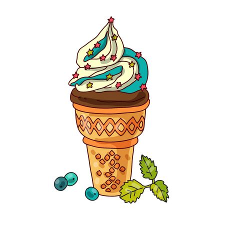 icecream cone: Cool ice-cream cone with pieces of berries and mint leaves Illustration