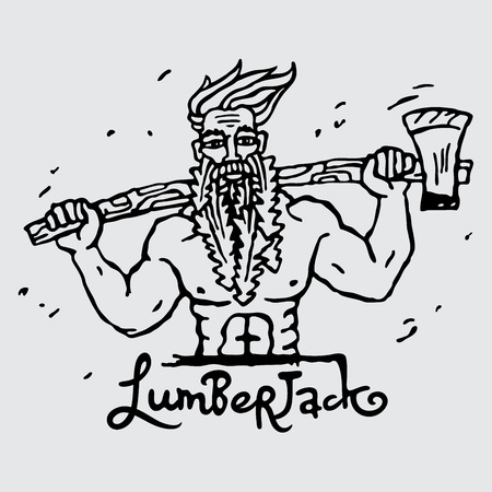 stern: Figure lumberjack with an ax on his shoulders. Vector illustration on gray background. Illustration
