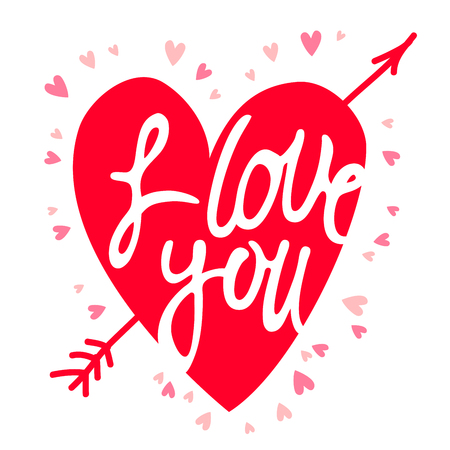 Red heart with the inscription I love you. Vector illustration on a white background. Ilustração