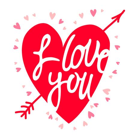 """Rood hart met de inscriptie """"I love you."""" Vector illustratie op een witte achtergrond."""