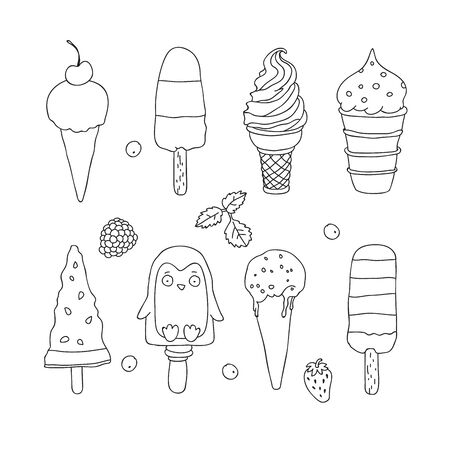 fillers: Set of various ice cream. Contour vector illustration