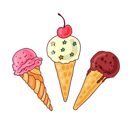winter cherry: Three different ice cream in a waffle cone in vector
