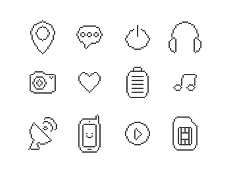 earbud: Set of mobile pixel icons