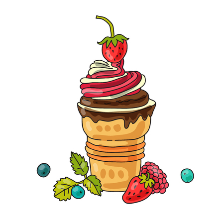 mint leaf: Vanilla ice cream in a waffle cup with strawberries, blueberries and a mint leaf Illustration