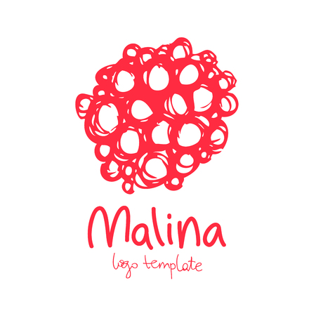 Template logo. Raspberries illustration on a white background, painted by hand.