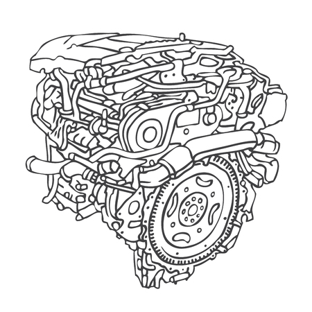 carburetor: Motor Engine. illustration on a white background, painted by hand.