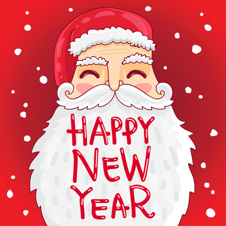 bushy: Cute and fun Santa with a bushy mustache and beard. The inscription Happy New Year. illustration on a red background.