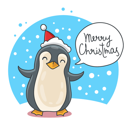 red hat: Cute and funny Christmas penguin in a red hat on a blue background. illustration. The inscription Merry Christmas Illustration
