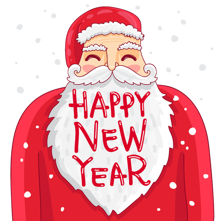 bushy: Cute and fun Santa with a bushy mustache and beard. The inscription Happy New Year. illustration on white background. Illustration