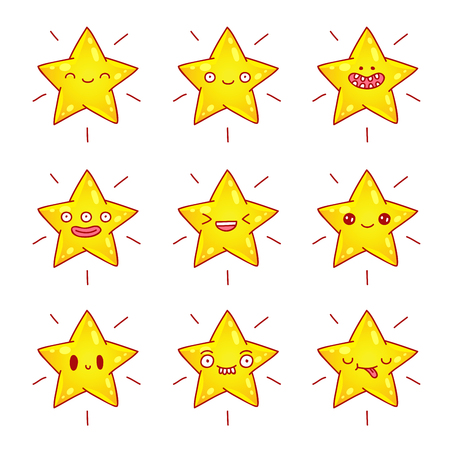 human face: Yellow stars with different emotions.
