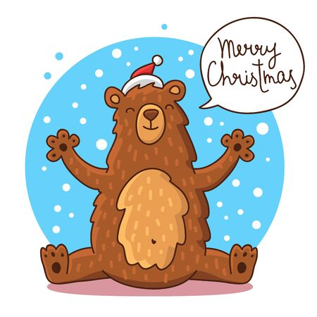 red hat: Cute and funny Christmas bear in a red hat on a blue background. illustration. The inscription Merry Christmas