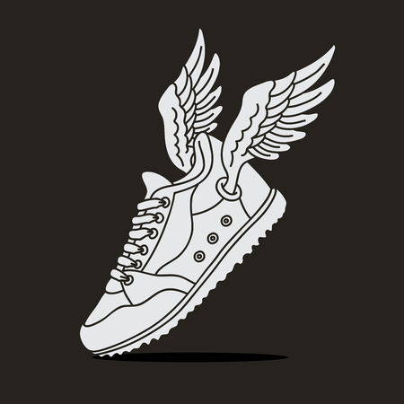 shoe strings: Sneakers with wings. illustration on black background. Illustration