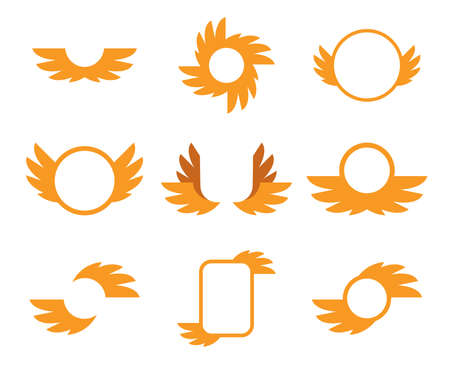 flapping: Icons gold wings on a white background