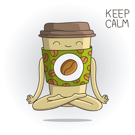 lotus position: Cute and funny cup of coffee sitting in the lotus position.