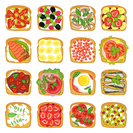 banana bread: Various sandwiches on white background. illustration drawn by hand.
