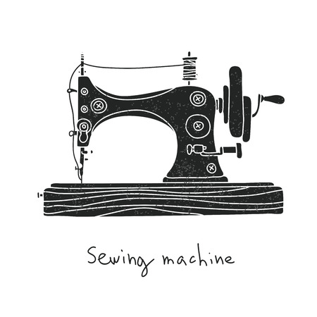 Sewing machine. illustration on a white background, painted by hand.
