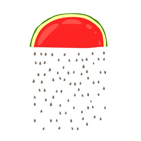 赤いスイカのスライスから種子の雨。白い背景の上の図は手で描いた。