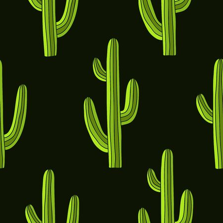 prick: Seamless pattern of green cactus on a dark green background, painted by hand.
