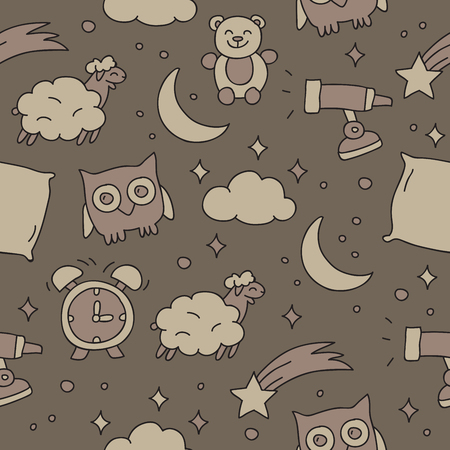 soft toys: Seamless pattern of the icons of dreams on a gray background, hand-drawn