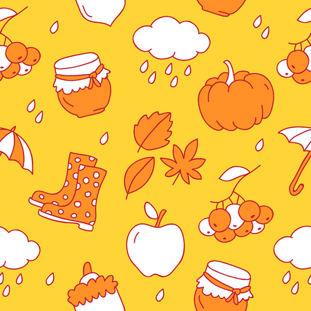 ash cloud: Seamless pattern of autumn icons on a yellow background, painted by hand.