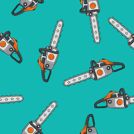 felling: Seamless pattern of chain saws on a blue-green background, painted by hand.