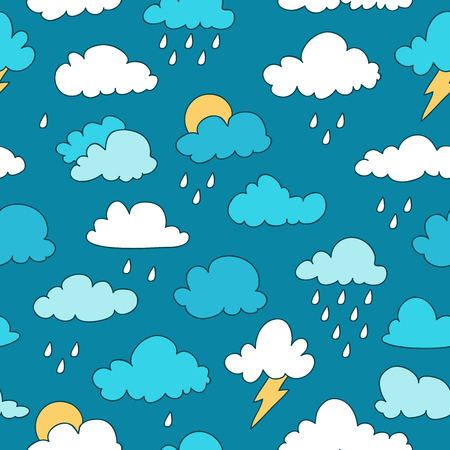 weightless: Seamless pattern in different clouds on a blue background, painted by hand.