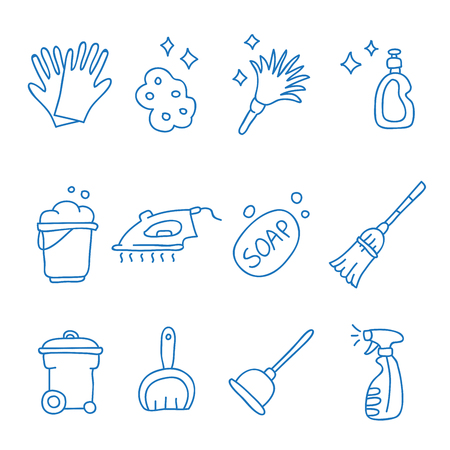 stink: Cleaning icons on a white background, hand-drawn.