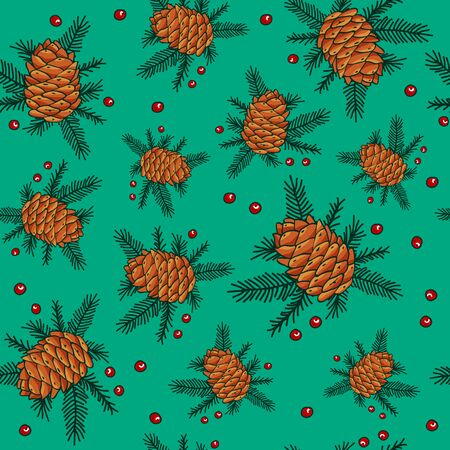 red berries: Seamless pattern of Christmas fir cones, fir branches and red berries Illustration