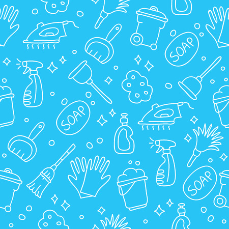 floor cloth: Seamless pattern of icons cleaning on a blue background, painted by hand.