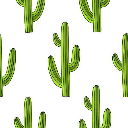 手描き、白い背景に緑のサボテンのシームレスなパターン。