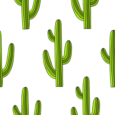 Seamless pattern of green cactus on a white background, hand-drawn.