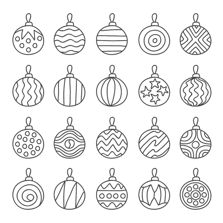 path: Various Christmas tree balls. illustration on a white background, hand-drawn.