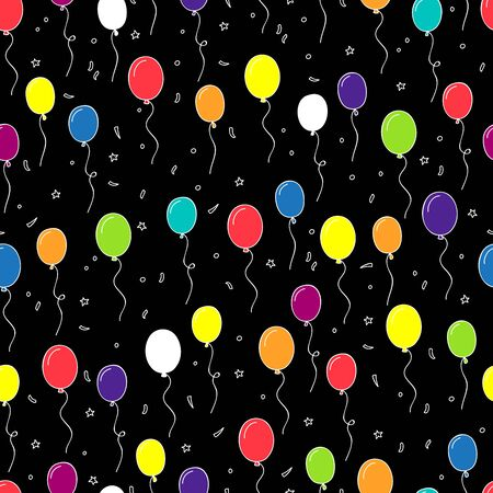 balloon background: Seamless pattern of multi-colored balloons on a black background, painted by hand.