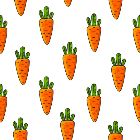 path pathway: Seamless pattern of orange carrot on a white background, hand-drawn.