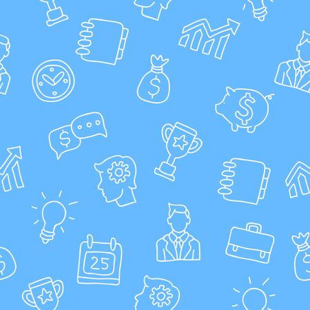 contributions: Seamless pattern of business icons on a light blue background painted by hand.