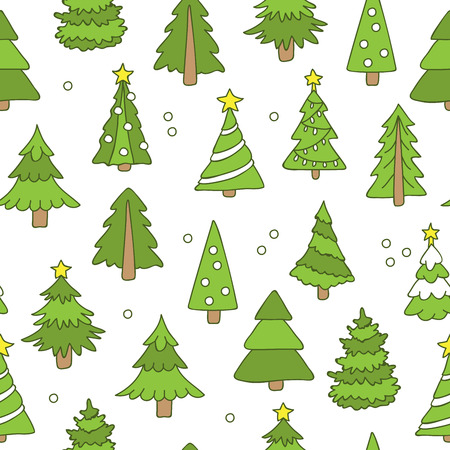 star path: Seamless pattern of Christmas trees on a white background, hand-drawn. Illustration