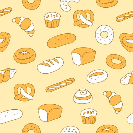 hearty: Seamless pattern of various bakery products on beige background, hand-drawn. Illustration