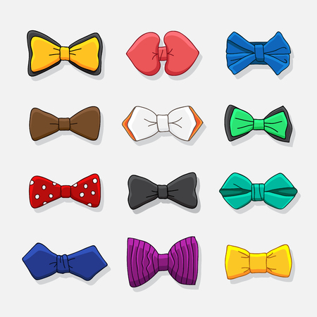 enhancement: Set of color icons of bow tie. illustration drawn by hand.