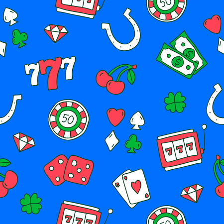 casino: Seamless pattern of colored icons on the casino on a blue background, painted by hand. Illustration
