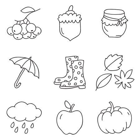 ash cloud: Autumn icons on a white background, hand-drawn.