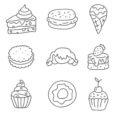 tasty: Different tasty desserts icons, hand-drawn on a white background