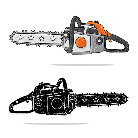 felling: Chainsaw illustration on a white background, painted by hand. Illustration