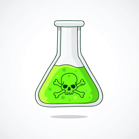poisoning: The flask with the poison. Green liquid. Vector illustration on white background.